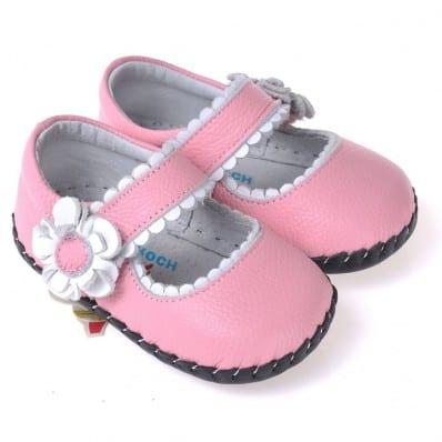 CAROCH - Zapatos de bebe primeros pasos de cuero niñas   Sandalias rosas flor dinero