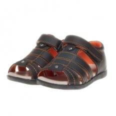 Little Blue Lamb - Soft sole boys Toddler kids baby shoes | Brown sandals