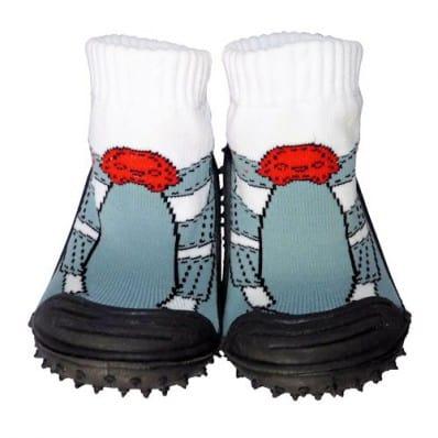 Chaussons-chaussettes nourrisson antidérapants semelle souple | Baskets grises