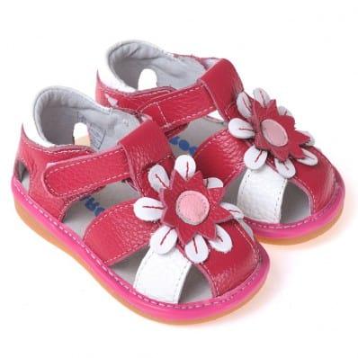 CAROCH - Krabbelschuhe Babyschuhe squeaky Leder - Mädchen | Rot und Weiß sandalen