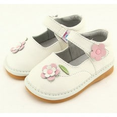 FREYCOO - Squeaky Leather Toddler Girls Shoes | White shoes with flowers