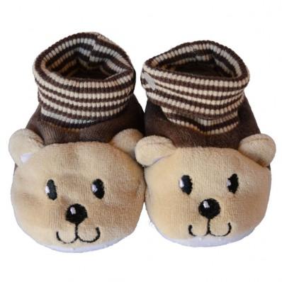 Babyschuhe baumwolle mädchen   Brauner kleiner Bär