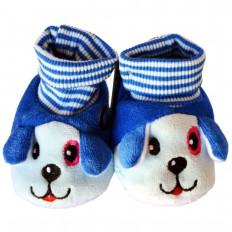 Chaussons chaussettes bébé 0-6 mois toile et tissu | Chien bleu