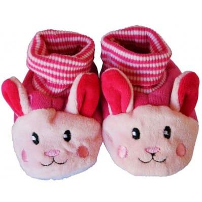 Chaussons chaussettes bébé 0-6 mois toile et tissu | Lapin rose