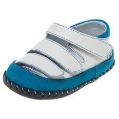 Little Blue Lamb - Scarpine primi passi bimba in morbida pelle | Blu e bianco sandali