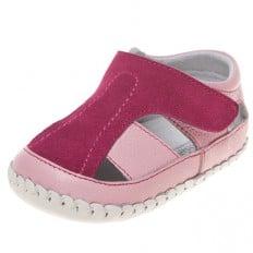 Little Blue Lamb - Chaussures 1er pas cuir souple   Sandales rose et fushia