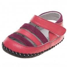 Little Blue Lamb - Chaussures 1er pas cuir souple   Sandales fushia et rose