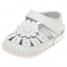 Little Blue Lamb - Chaussures 1er pas cuir souple   Sandales blanches fleur blanche
