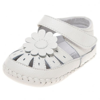 Little Blue Lamb - Baby girls first steps soft leather shoes | White sandals with white flower