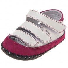 Little Blue Lamb - Baby girls first steps soft leather shoes | White sandals 3 velcro