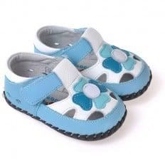 CAROCH - Krabbelschuhe Babyschuhe Leder - Jungen | Blau und weiß sandalen