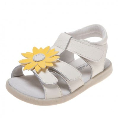 Little Blue Lamb - Chaussures semelle souple | Sandales blanches marguerite jaune
