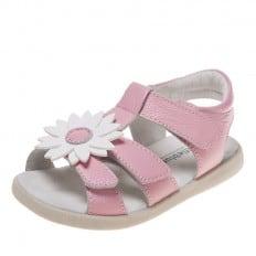 Little Blue Lamb - Krabbelschuhe Babyschuhe  Leder - Mädchen | Pink weiß sandalen Gänseblümchen
