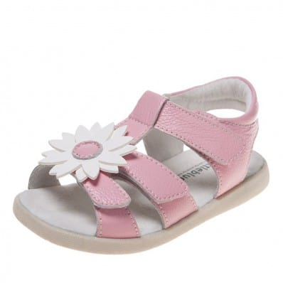 Little Blue Lamb - Chaussures semelle souple | Sandales rose marguerite blanche