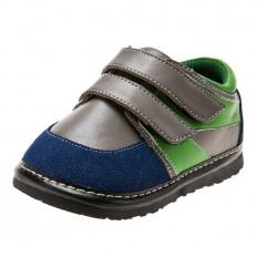 Little Blue Lamb - Krabbelschuhe Babyschuhe squeaky Leder - Jungen | Sneakers grau grün