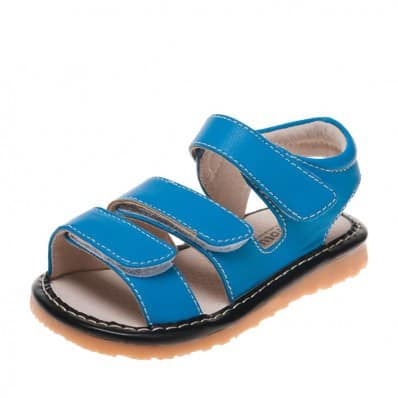 Little Blue Lamb - Squeaky Leather Toddler boys Shoes   Blue sandals 3 velcro