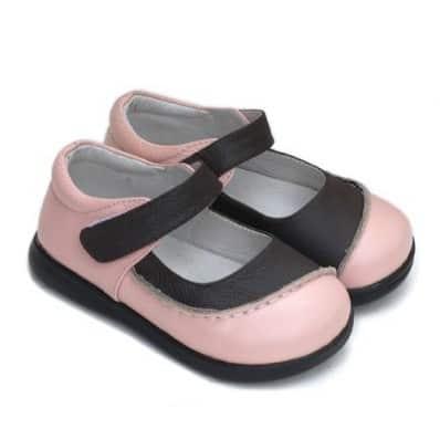 Little Blue Lamb - Krabbelschuhe Babyschuhe Leder - Mädchen | Zweifarbig rosa Marone