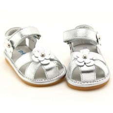 FREYCOO - Squeaky Leather Toddler Girls Shoes | Silver sandals