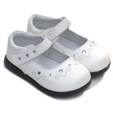 Little Blue Lamb - Chaussures semelle souple | Blanc coeur argent cérémonie