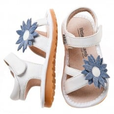 Little Blue Lamb - Squeaky Leather Toddler Girls Shoes | White blue marguerite sandals