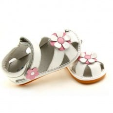 FREYCOO - Squeaky Leather Toddler Girls Shoes | White sandals with white pink flower