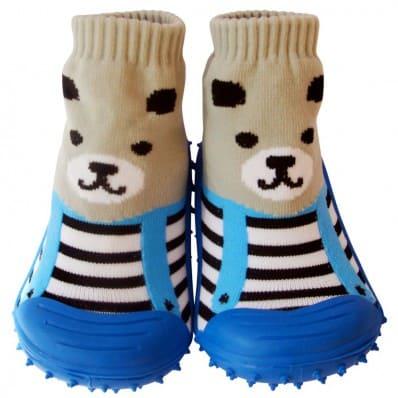 Hausschuhe - Socken Baby Kind geschmeidige Schuhsohle Mädchen Junge | Grau bär