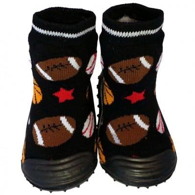 Chaussons-chaussettes bebe antidérapants semelle souple | Ballons de sport noir