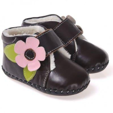 CAROCH - Krabbelschuhe Babyschuhe Leder - Mädchen | Schwarz gefüllte stiefel rosa blume