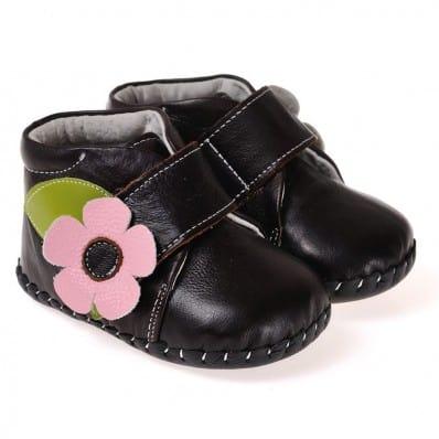 CAROCH - Chaussures premiers pas cuir souple | Montantes marron foncé fleur rose