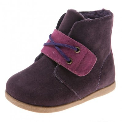 Little Blue Lamb - Chaussures semelle souple | Bottines velours violettes
