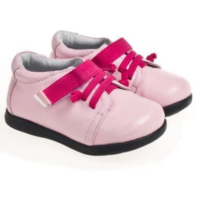 Little Blue Lamb - Chaussures semelle souple | Fushia lacets rose