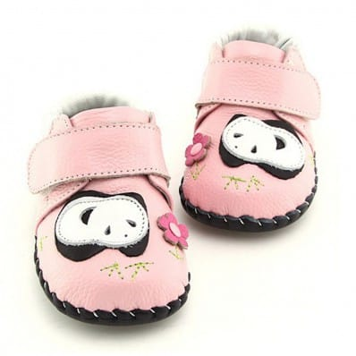 FREYCOO - Baby boys first steps soft leather shoes   Panda