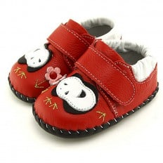 FREYCOO - Baby boys first steps soft leather shoes | Panda red model