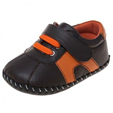 Little Blue Lamb - Chaussures premiers pas bébé en cuir souple | Baskets marron et orange