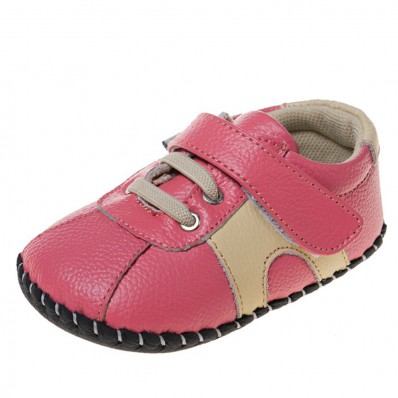 Little Blue Lamb- Baby girls first steps soft leather shoes | Pink and beige sneakers