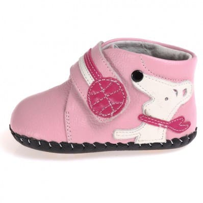 CAROCH - Baby girls first steps soft leather shoes | Pink bootees little dog