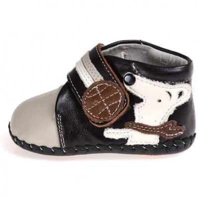 CAROCH - Baby boys first steps soft leather shoes | Grey bootees little dog