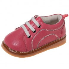 Little Blue Lamb - Squeaky Leather Toddler Girls Shoes | Hot pink sneakers with white laces