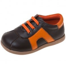 Little Blue Lamb - Chaussures semelle souple | Baskets orange et marron