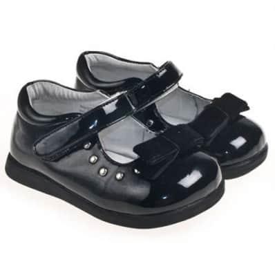 Little Blue Lamb - Zapatos de suela de goma blanda niñas | Nudo negro ceremonia