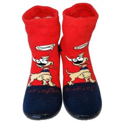 Chaussons-chaussettes enfant antidérapants semelle souple | Dog miam rouge