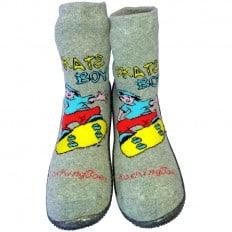 Hausschuhe - Socken Baby Kind geschmeidige Schuhsohle Junge | Skate boy grau