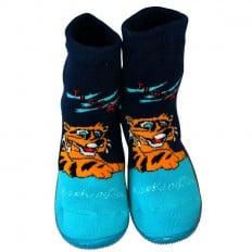 Calcetines con suela antideslizante para niños   Tigre azul