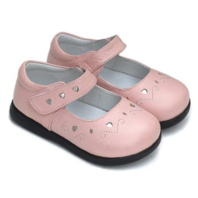 Little Blue Lamb - Soft sole girls Toddler kids baby shoes   Pink heart silver ceremony