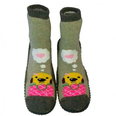 Chaussons-chaussettes enfant antidérapants semelle souple | Sweety dog gris C2BB - chaussons, chaussures, chaussettes pour bébé