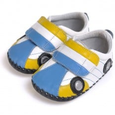 CAROCH - Baby boys first steps soft leather shoes | Blue and yellow car sneakers