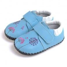 CAROCH - Scarpine primi passi bimba in morbida pelle | Blu con fiori