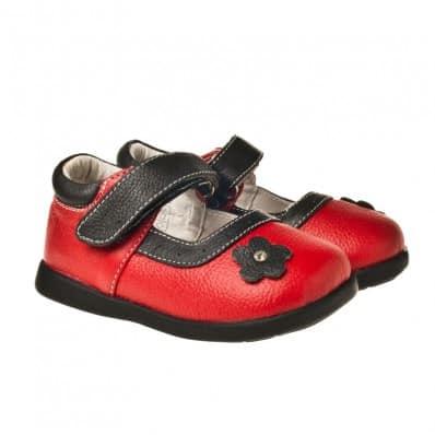 Little Blue Lamb - Chaussures semelle souple | Rouge fleur noire