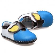 CAROCH - Zapatos de bebe primeros pasos de cuero niños | Zapatillas de deporte azul con amarillo hoja