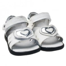 Little Blue Lamb - Soft sole girls Toddler kids baby shoes   White sandals big heart